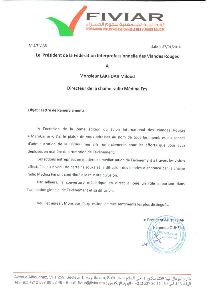 lettre decv remerciements Mr LAKHDAR